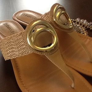 EFFORTLESS STYLE GOLD BLING SANDALS NEUTRAL TAN